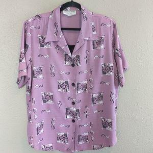 Vintage Purple Buttoned Down Patterned Shirt